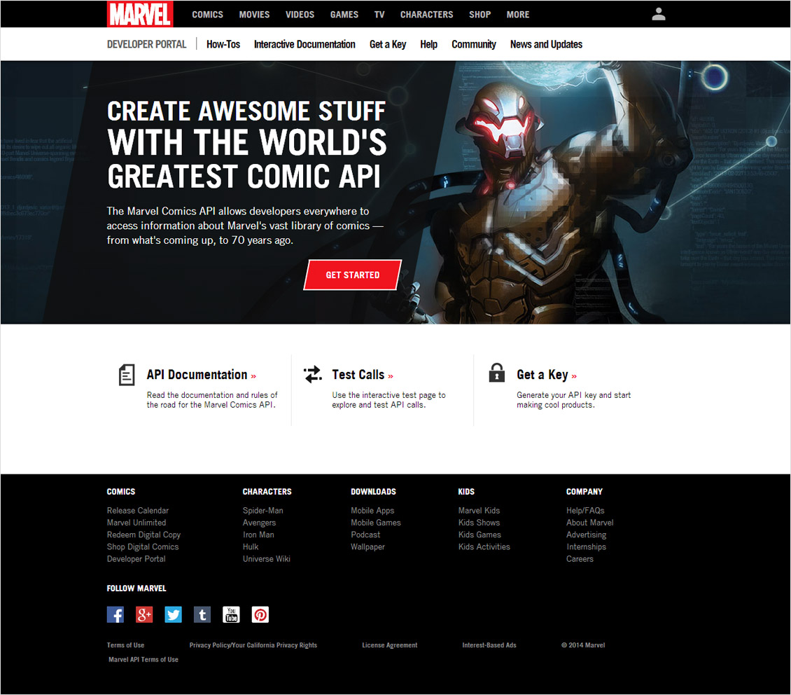 Marvel Developer API Portal