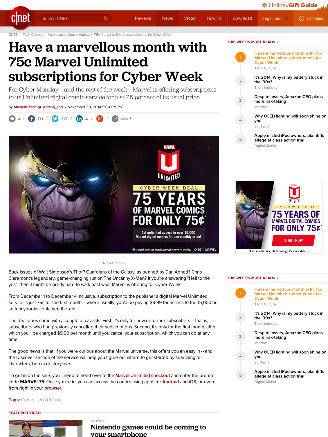 Marvel Unlimited: Cyberweek
